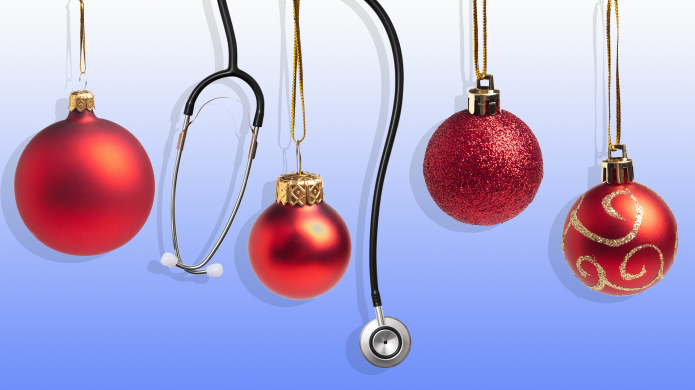 Hanging holiday ornaments and stethoscopes