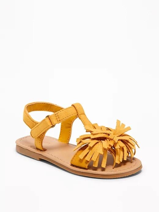 Old Navy sueded pom-pom sandals