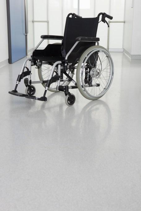Wheelchair in a hallway.
