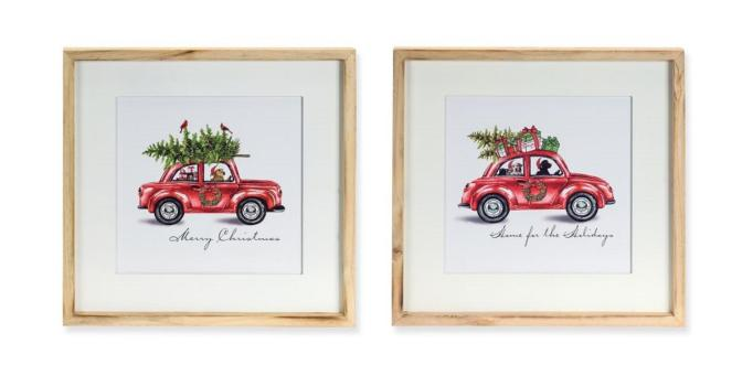 Christmas car framed print set.