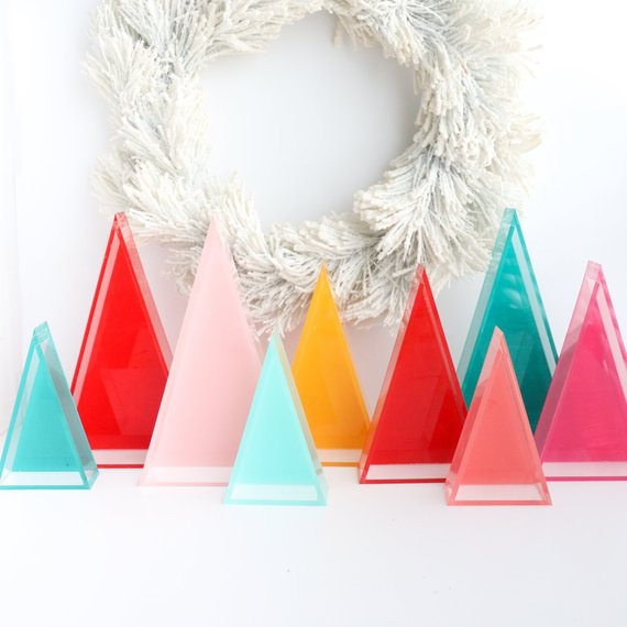 Colorful Lucite modern Christmas tree decor.