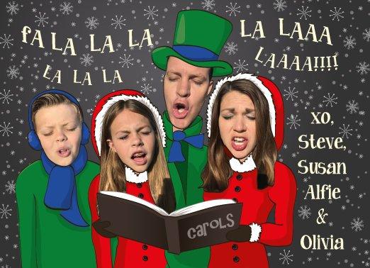 Funny Carol-Singer Christmas Card