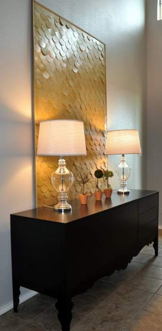 Cheap Wall Covering Ideas: Gold Scale Wall Art