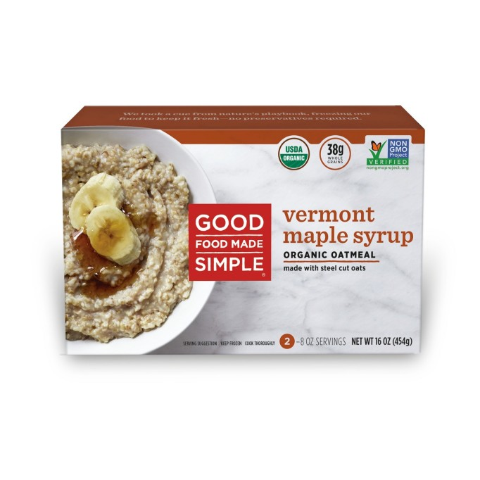 Good Food Made Simple Vermont Maple Syrup Frozen Oatmeal