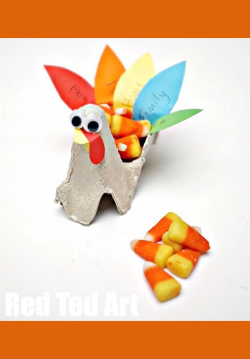 Red Ted Art Egg Carton Turkey Snack Holders