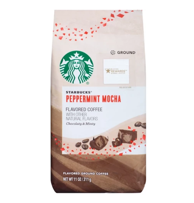 photo of Starbucks peppermint mocha flavored coffee