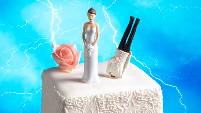 Wedding cake topper with groom's head