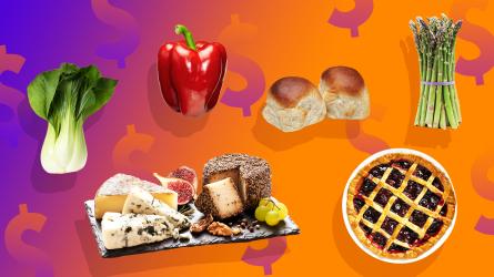 Foods on orange background