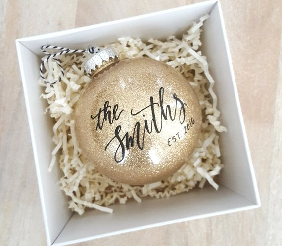 Personalized gold Christmas ornament.