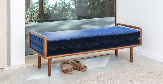 Cascadia blue and walnut bench at Article.
