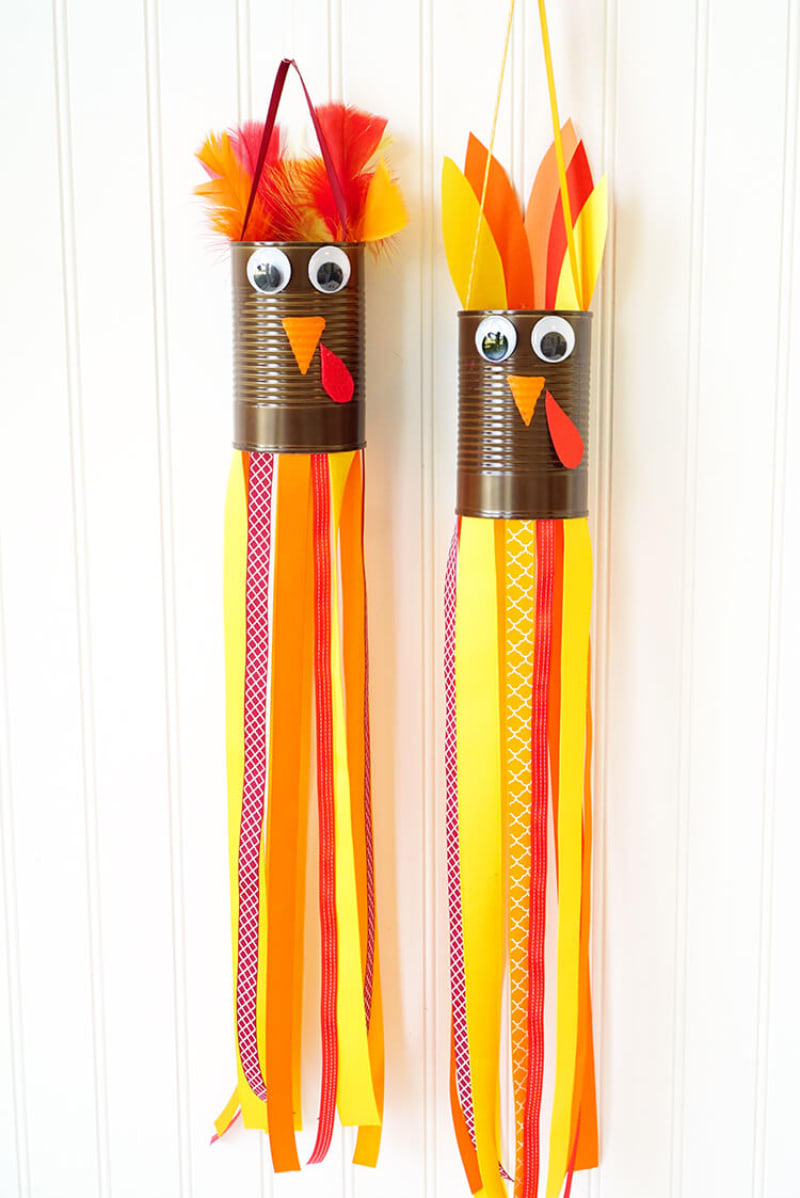Happiness Is Homemade Turkey Windsocks Thanksgiving Crafts for Kids