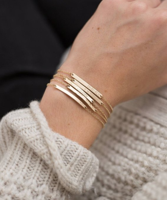 GLDN Layered and Long Engraved Bar Bracelets