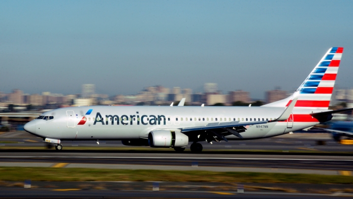 American Airlines airplane taking off