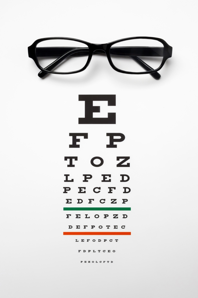 Glasses on top of an eye chart.