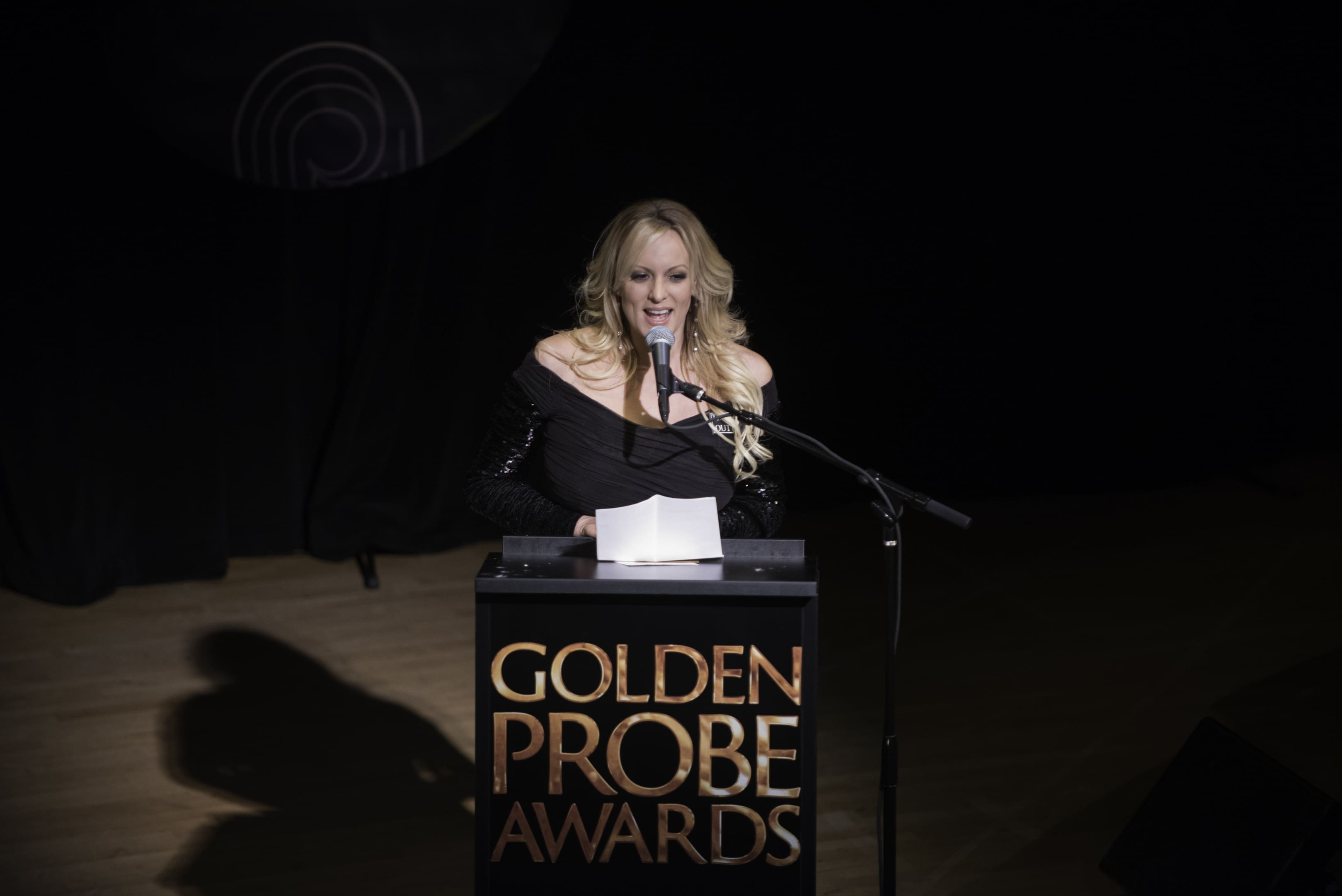 Stormy Daniels on stage at the Golden Probes