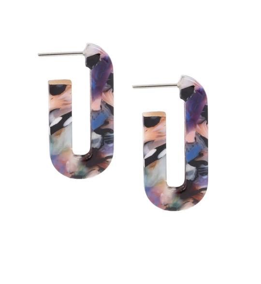 Marble Sky Hoop Earrings