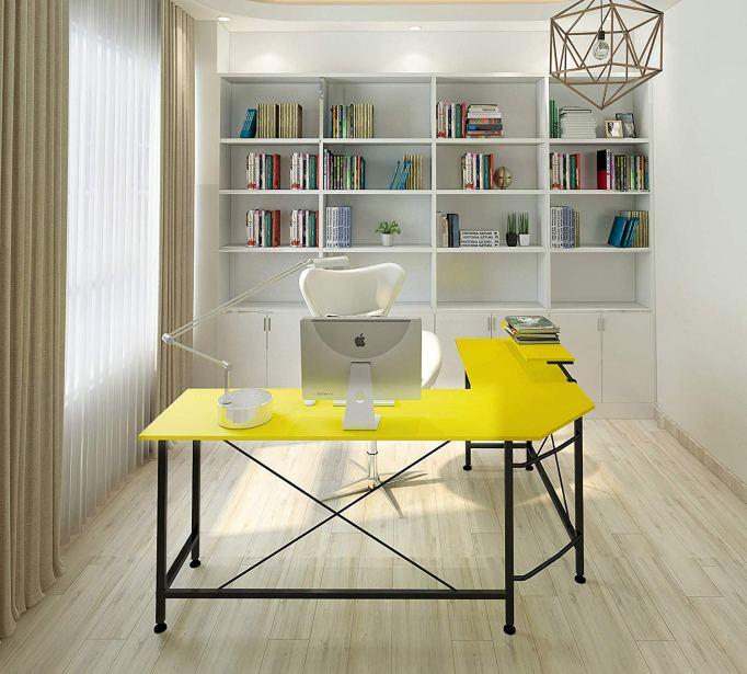 Modern yellow L-shaped desk at Amazon.