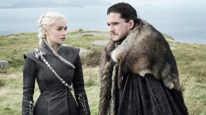 Emilia Clarke and Jon Snow on