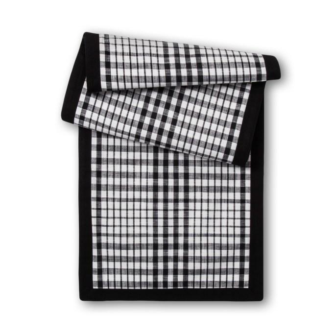photo of Threshold Black & White Plaid Table Runner