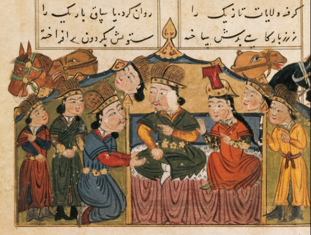 Genghis Khan seated on his throne with his wife under a tent with four Mongols and camels, miniature from Mongolian History in Verse, Persia, 15th century