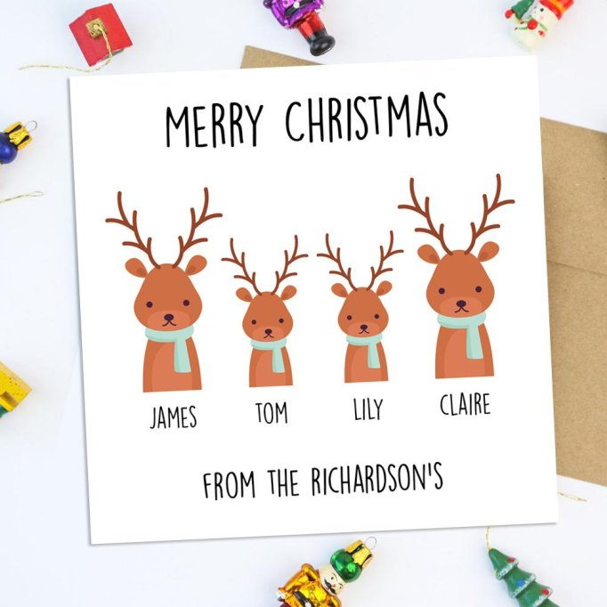 Personalized Family Reindeer Christmas Card