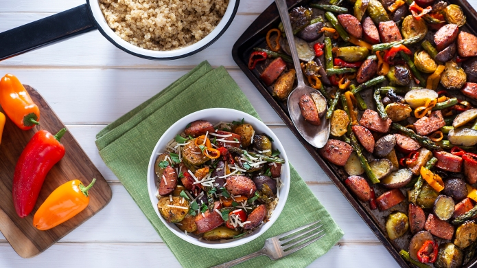 Bowl of Healthy Sheet Pan Sausage,