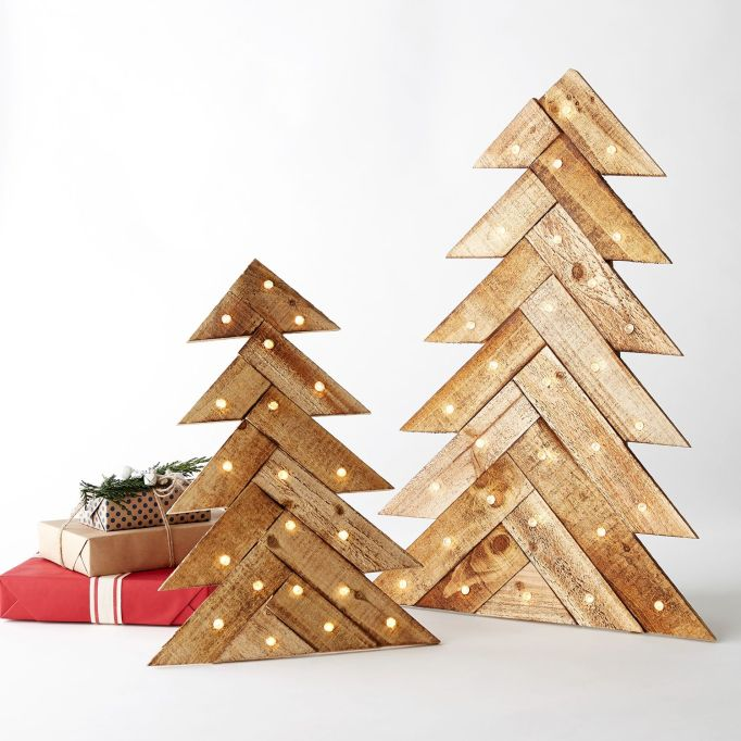 LED light-up wood slat tree decor.