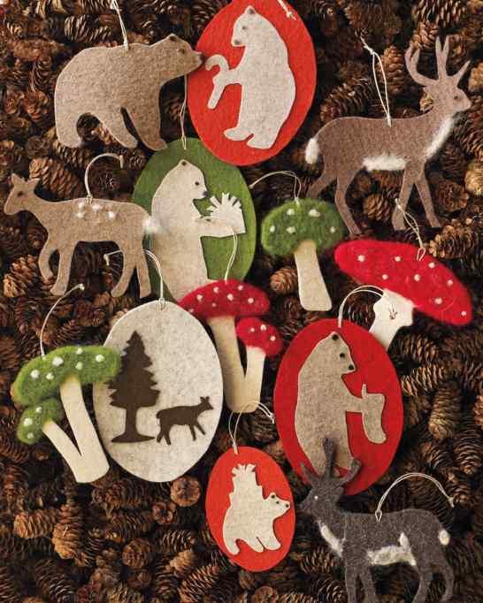 DIY Needle Felted Woodland Ornaments