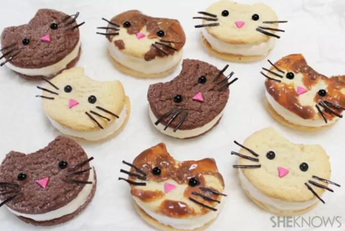 Kitty cat ice cream sandwiches
