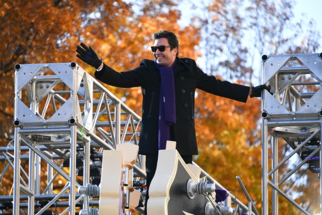 Jimmy Fallon rides in the 91st Annual Macy's Thanksgiving Day Parade on November 23, 2017