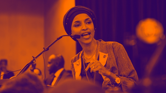 Ilhan Omar giving a victory speech