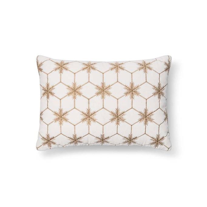 Project 62 Geometric White Metallic Snowflake Lumbar Pillow