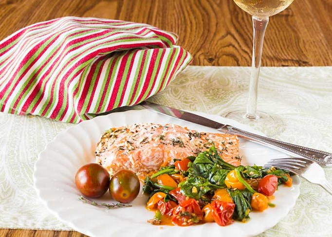 Sheet Pan Salmon with Roasted Tomatoes and Spinach