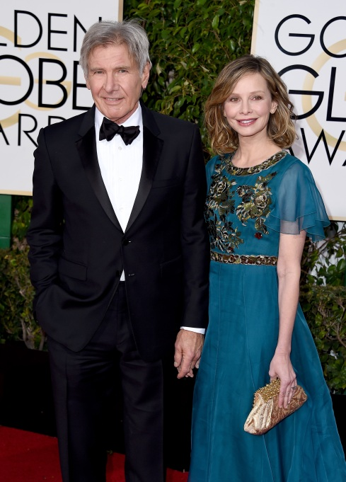 Harrison Ford and Calista Flockhart arrive at the 73rd Annual Golden Globes