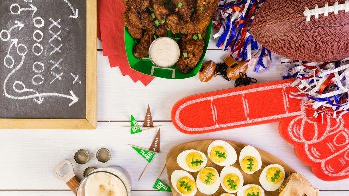 Super Bowl food spread