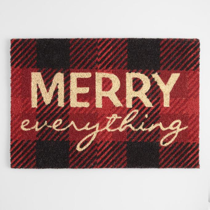'Merry everything' welcome mat.