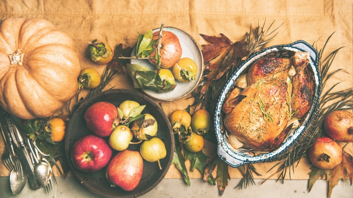 Thanksgiving dinner table. Flat-lay of roasted
