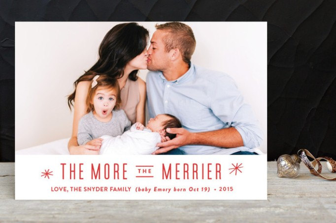 'The More the Merrier' Birth Announcement Holiday Card