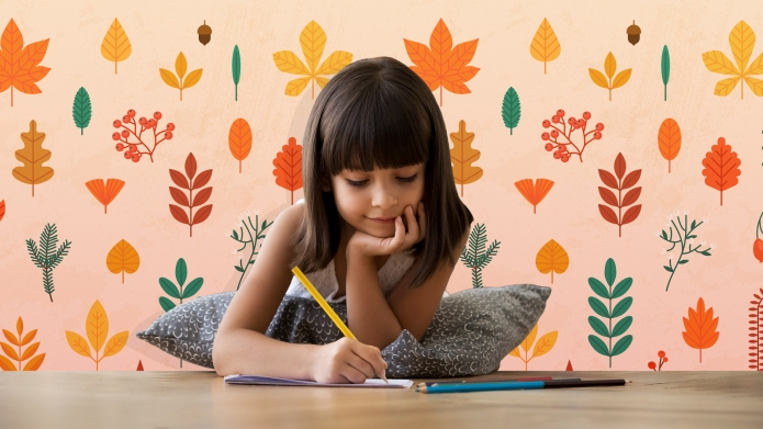 Little girl coloring Thanksgiving coloring pages
