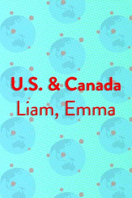 The Top Baby Names in (Almost) Every Country of the World: United States & Canada