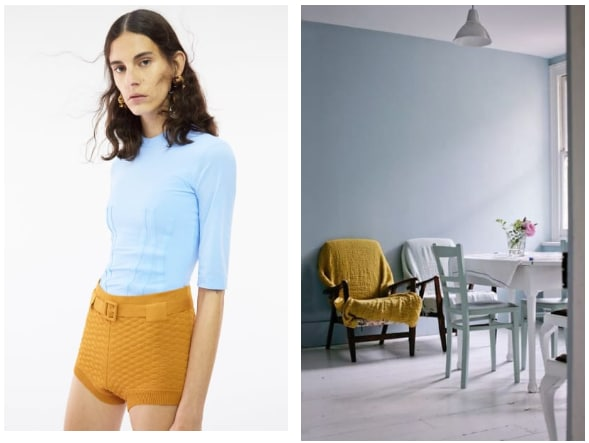 Ice Blue + Mustard Yellow