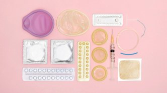 An assortment of contraceptive devices and