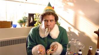 Buddy the elf eating spaghetti