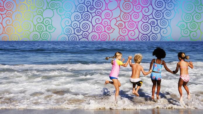 Four kids in ocean