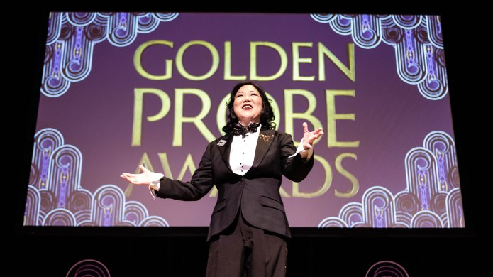 Margaret Cho hosting the Golden Probe