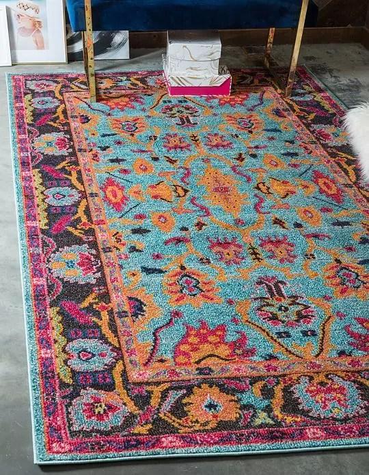 blue gold pink print rug