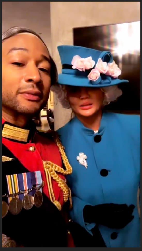 John Legend and Chrissy Teigen dress as British monarchs for Halloween