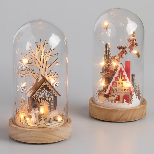 LED light-up wood houses in glass cloche.