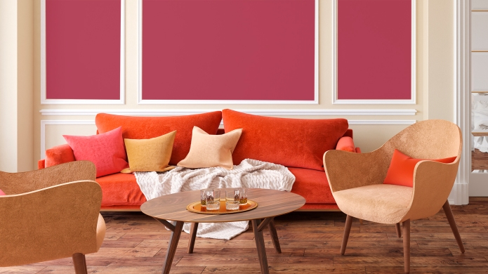Berry and orange living room