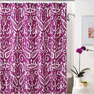 Macy's purple Ikat designed shower curtain
